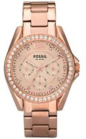 Fossil Womens Riley Rose Gold Plated Stainless Steel Bracelet 36mm - Lyst
