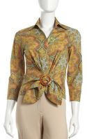 Lafayette 148 New York Tie Front Blouse - Lyst