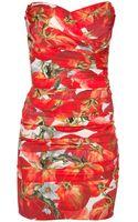Dolce & Gabbana Strapless Tomato Dress - Lyst
