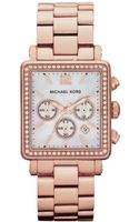 Michael Kors Womens Chronograph Hudson Rose Gold Tone Stainless Steel Bracelet 35x32mm - Lyst