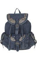 Topshop Studded Denim Backpack - Lyst