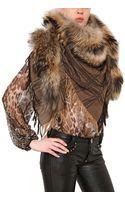 Philipp Plein 03ven Wool Cashmere Shawl with Fox Fur - Lyst