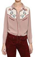 Isabel Marant Embroidered Viscose Crepe Shirt - Lyst