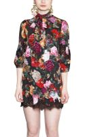 Dolce & Gabbana Printed Silk Charmeuse Dress - Lyst