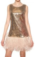Blugirl Blumarine Ostrich Feather Sequin Techno Net Dress - Lyst