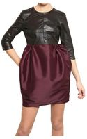 Amaya Arzuaga Nappa Leather Taffeta Dress - Lyst