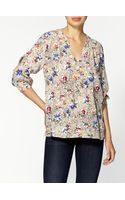 Rebecca Taylor Inky Floral Silk Blouse - Lyst