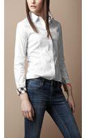 Burberry Brit Check Detail Cotton Blend Shirt - Lyst
