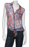 Equipment Preview Exclusive Tie Front Floral Print Sleeveless Blouse - Lyst