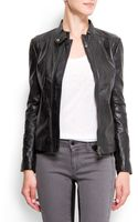 Mango Biker Leather Jacket - Lyst