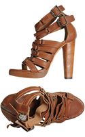 Diesel Black Gold Platform Sandals - Lyst