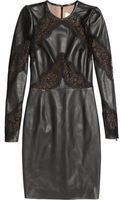 Valentino Lacepaneled Leather Dress - Lyst