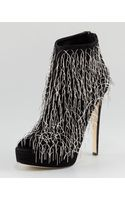 Brian Atwood Twinkle Chain Fringe Suede Bootie - Lyst