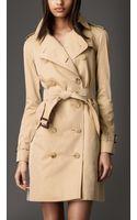 Burberry Long Cotton Gabardine Trench Coat - Lyst