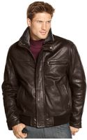 Marc New York Leather Aviator Bomber with Removable Shearling Collar - Lyst