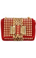 Christian Louboutin Sweety Charity Velvet Pony Spikes Clutch - Lyst