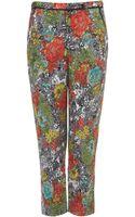 Topshop Rose Print Jacquard Cigarette Trousers - Lyst