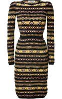 Valentino Blackmulti Knit Pencil Dress - Lyst