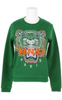 Kenzo Kenzo Paris Cotton Sweatshirt with A Multicolor Embroidered Tiger On Front - Lyst