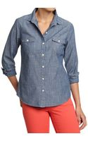Old Navy Polka Dot Chambray Shirts - Lyst