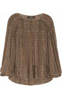 Isabel Marant Smocked Printed Silk Georgette Top - Lyst