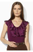 Lauren by Ralph Lauren Sleeveless Jersey Ruffled Top - Lyst