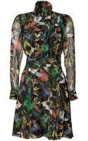 McQ by Alexander McQueen Blackjungle Hummingbird Print Dress - Lyst