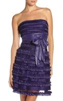 BCBGMAXAZRIA Doreen Ruffle Strapless Dress 6 - Lyst