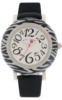 Betsey Johnson Womens Black Patent Leather Strap Watch - Lyst