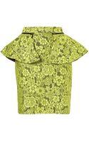 Topshop Lime Lace Peplum Pencil Skirt - Lyst