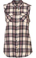 Topshop Sleeveless Tab Check Shirt - Lyst