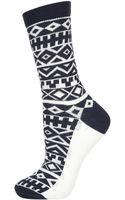 Topshop Navy Aztec Ankle Socks - Lyst