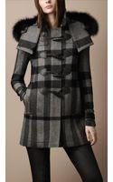 Burberry Brit Fur Trim Hooded Duffle Coat - Lyst