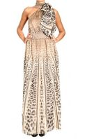 Class Roberto Cavalli Silk Bow Collar Animalier Print Long Dress - Lyst