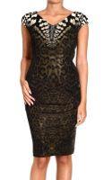 Roberto Cavalli Short Sleeve V Neck Jersey Jaguar Print Dress - Lyst