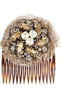 Dolce & Gabbana Swarovski Crystal Glass Pearl and Lace Hair Slide - Lyst