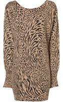 Jane Norman Animal Print Batwing Jumper Dress - Lyst