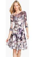Komarov Floral Print Crinkle Charmeuse Dress - Lyst