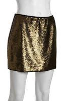 BCBGMAXAZRIA Bronze Sequined Catrine Mini Skirt - Lyst