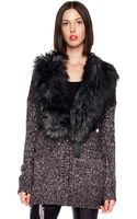 Michael by Michael Kors Faux Fur Collar Cardigan - Lyst