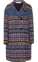 Marni Printed Woven wool Coat - Lyst