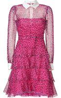 Valentino Fuchsiablack Leopard Print Belted Silk Dress - Lyst