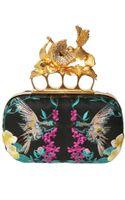 Alexander McQueen Embroidered Satin Knucklebox Clutch - Lyst