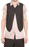 Ann Demeulemeester Reversible Herringbone Cotton Vest - Lyst