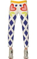 Moschino Printed Stretch Cotton Trousers - Lyst
