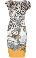 Roberto Cavalli Leopard Print Fitted Short Sleeve Dress - Lyst