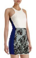Mason by Michelle Mason Leather and Lace Sleeveless Sheath Dress - Lyst
