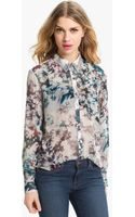 Bellatrix Embellished Collar Print Chiffon Shirt - Lyst