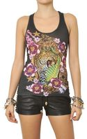 Philipp Plein Crystals Printed Cotton Jersey Tank Top - Lyst
