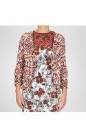 Bottega Veneta Maroon Appia Poussin Silk Printed Cardigan - Lyst